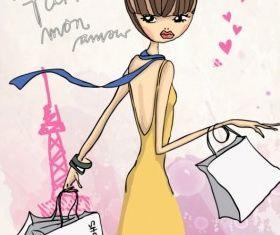 fashion shopping girl 04 vector