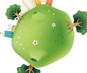 Cute Green Planet Illustration vector