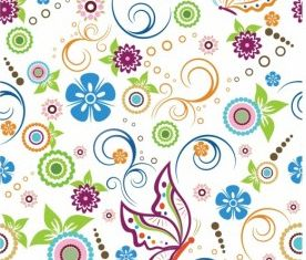 Floral and butterfly Pattern vector graphics