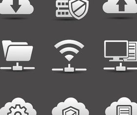 Web Clouds Icons set vector