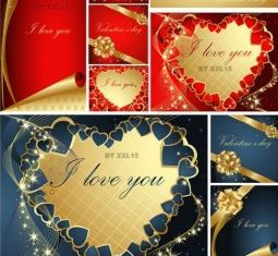 romantic valentine day greeting card design vector