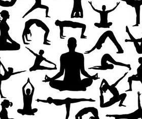 yog silhouette 03 vector set