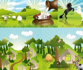 lovely countryside farm vector