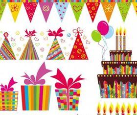 handpainted elements birthday 04 vector