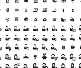 Silhouette Business Icons 3 set vector