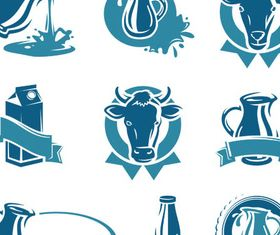 Stylish Milk Labels Vector Set