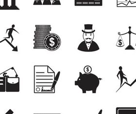 16 Kind Silhouette Banking Icons ector