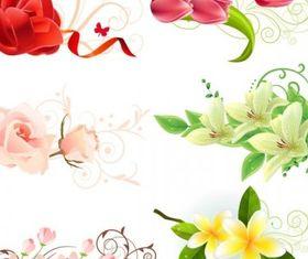 beautiful flowers vectors material