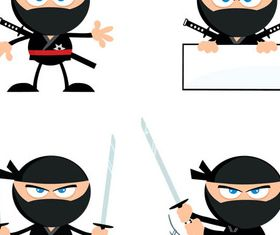 Cartoon NinjSet design vectors