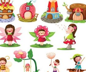cartoon fairytale image set vector