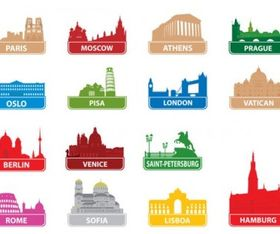worldfamous city building silhouette vector