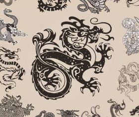 all kinds dragon element patterns vector design