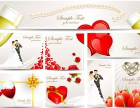 exquisite wedding greeting card vector