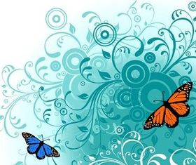 Flowers and Butterfly Free Graphics Illustration vector