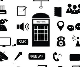 Communication Black Icons vector