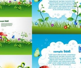 beautiful green cartoon background vectors material