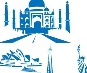 World Landmarks clip art vector