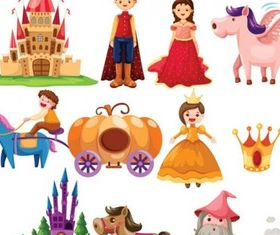 cartoon fairytale set vector