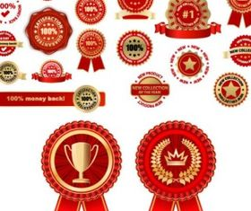 badge medal set vector