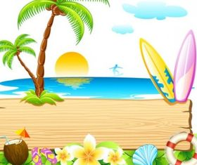 beautiful summer card 01 vector design