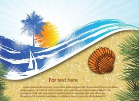 summer beach background 06 vector set