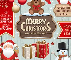 Christmas Colorful Elements shiny vector