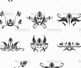 Blakc floral ornaments vector