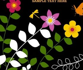 Cartoon floral and butterfly background vector