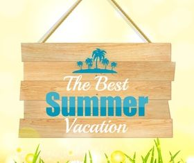 Summer wooden sign vector