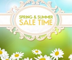 Summer and spring sale background set vector