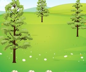 Tree with nature vector material