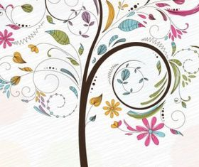 Abstract Swirl Floral Tree Graphic vector