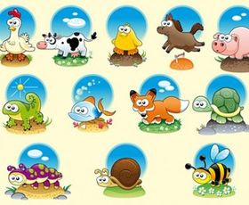 Cute Cartoon Animals Illustration vector