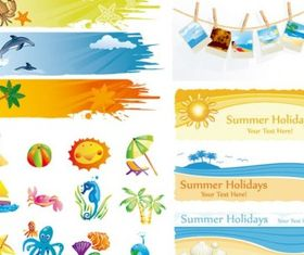elements cute summer vector material