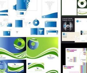 5 sets simple business vi template set vector