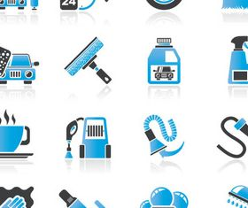 Blue Cars Icons Set shiny vector