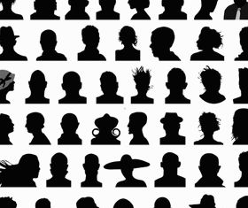 People Silhouette Avatars 3 vectors material