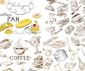 food and kitchen utensils vector