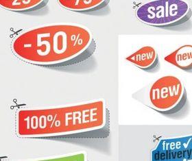 beautiful stickers discount sales vector design