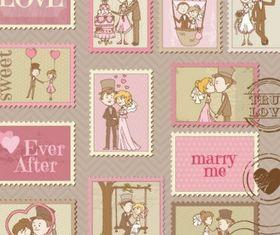 cartoon wedding card 01 creative vector
