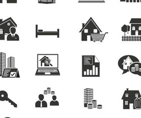 Black Real Estate Icons vectors