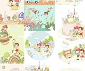 travel theme fantasy children drawings vectors graphics
