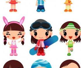 super cute cartoon girl set vector