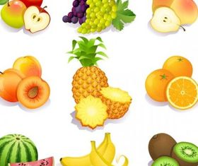 fresh fruits vector set