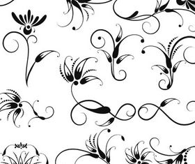 Swirl Floral Elements vector