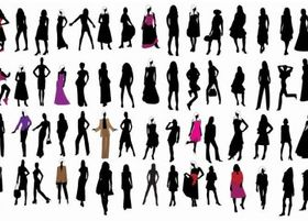 Silhouette Fashion Girls vectors material