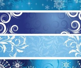 Christmas Banners with Snowflakes shiny vector
