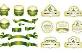 green ribbon label vector