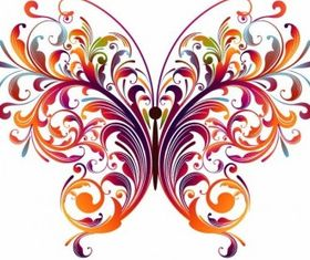 Abstract Floral Butterfly Graphic vector