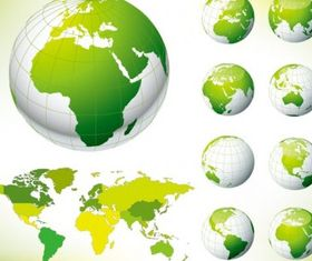 green earth and world map vectors